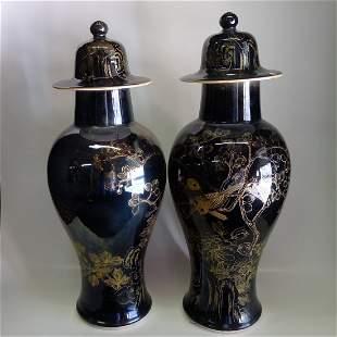 20 One Pair Chinese Black Base Goldfish Jars