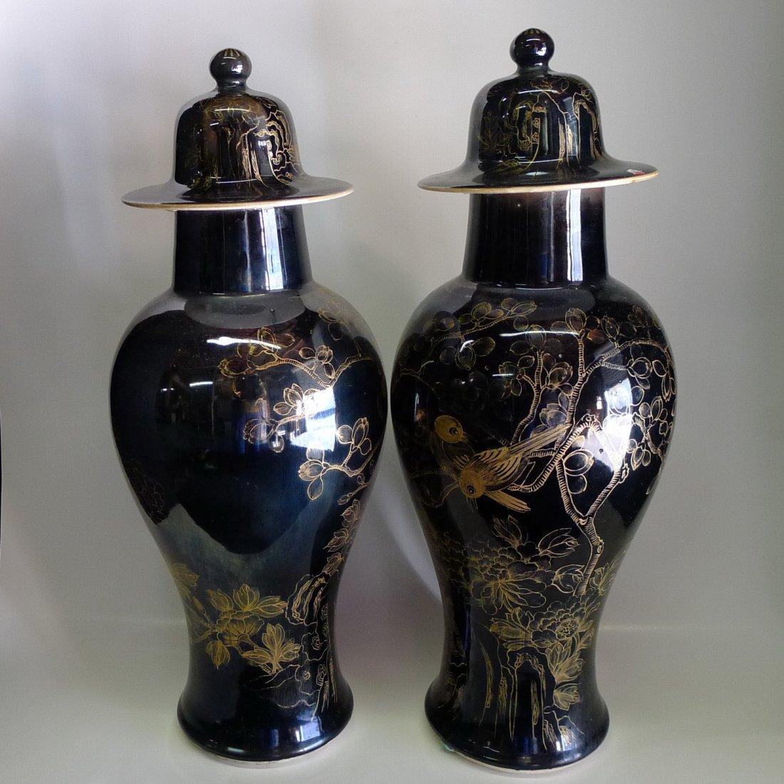 20One Pair Chinese Black Base Goldfish Jars