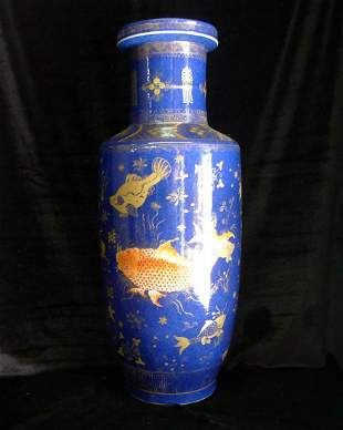 21 A Chinese Chelan Gilt Wooden Blue Goldfish Bottle