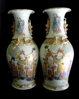 One Pair of Qing Dynasty Famille Rose Gilt Figure Vases