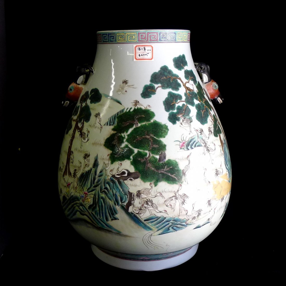 A Chinese Antiques Famille Rose Deer Statue Vase