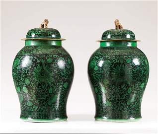 A rare pair of 19th century Chinese porcelain baluster