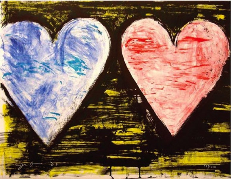 """24: Jim Dine, """"Two Hearts at Sunset"""""""