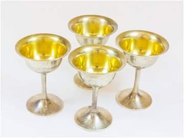 1000: Vier kleine Silberkelche, 925er Sterlingsilber, U