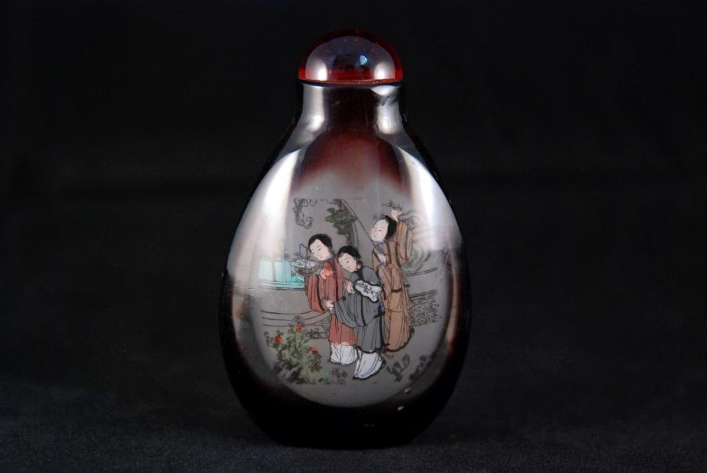 4: INSIDE-PAINTED GLASS SNUFF BOTTLE