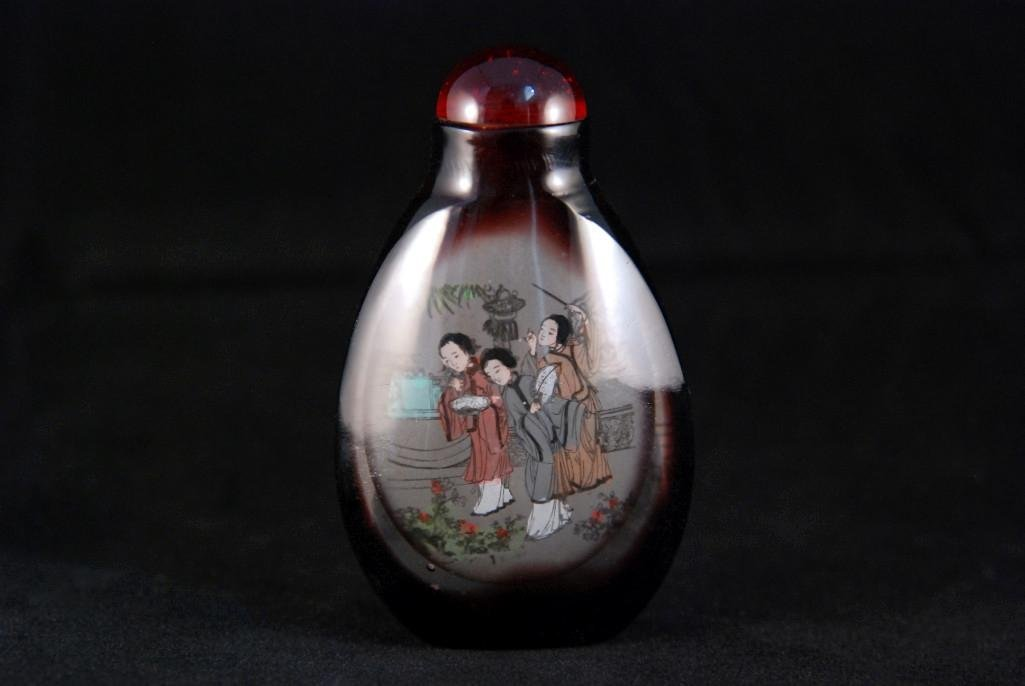 4: INSIDE-PAINTED GLASS SNUFF BOTTLE - 2