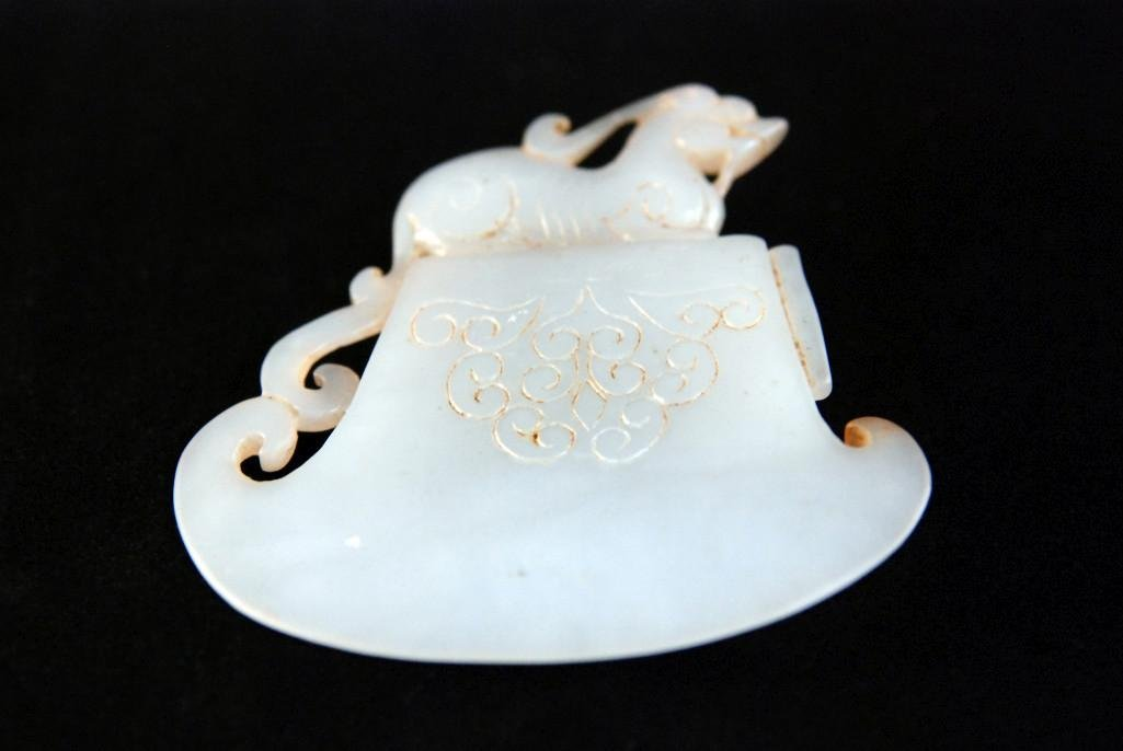 11: CHINESE ARCHAISTIC JADE CARVING OF TWO QILONGS. - 3