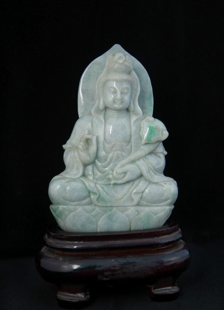 13: A CARVED JADE FIGURE OF GUANYIN