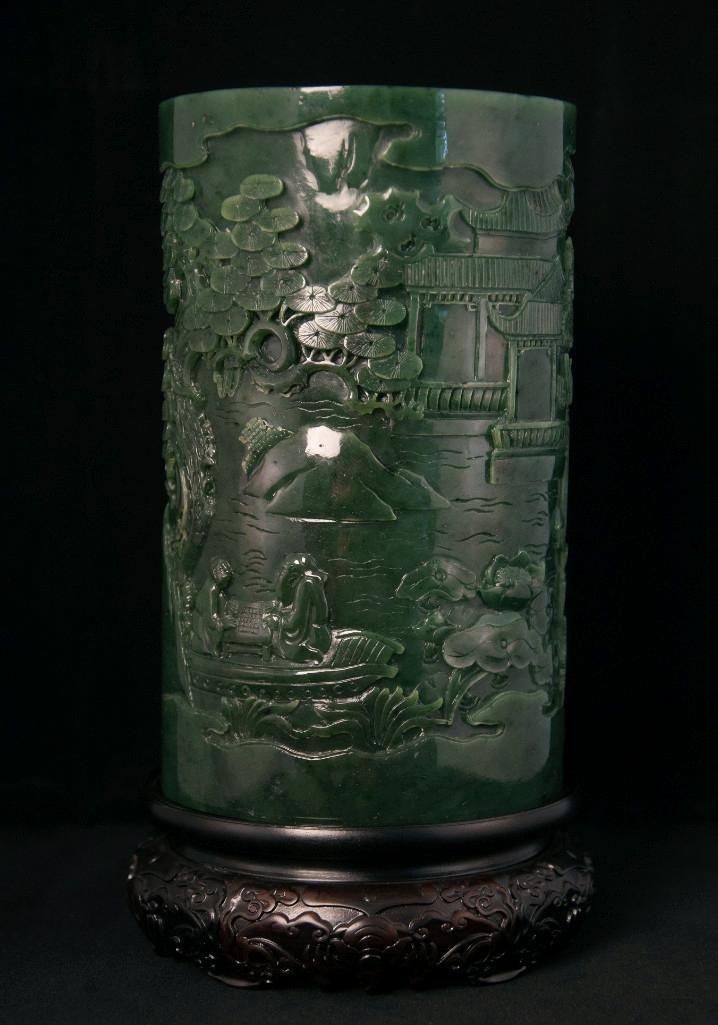 20: LARGE CHINESE SPINACH JADE BRUSHPOT, BITONG - 5