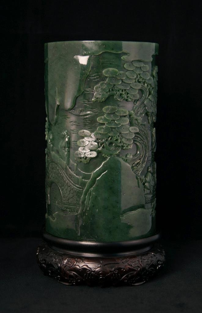 20: LARGE CHINESE SPINACH JADE BRUSHPOT, BITONG - 8