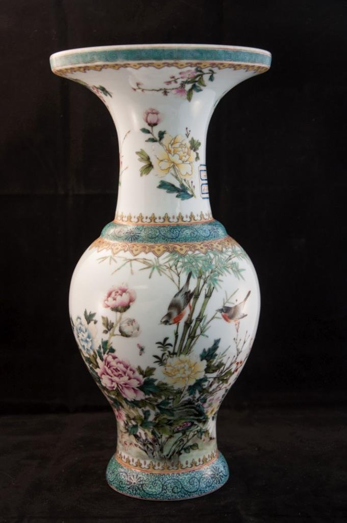 95: A FLORAL WITH BUTTERFLY AND BIRD BALUSTER VASE