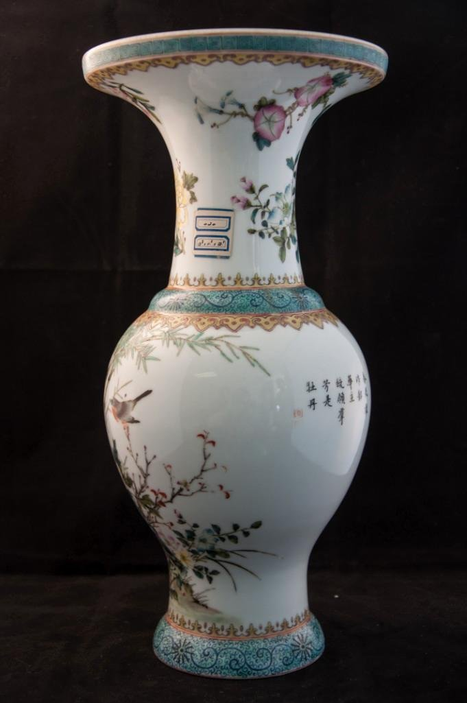 95: A FLORAL WITH BUTTERFLY AND BIRD BALUSTER VASE - 4