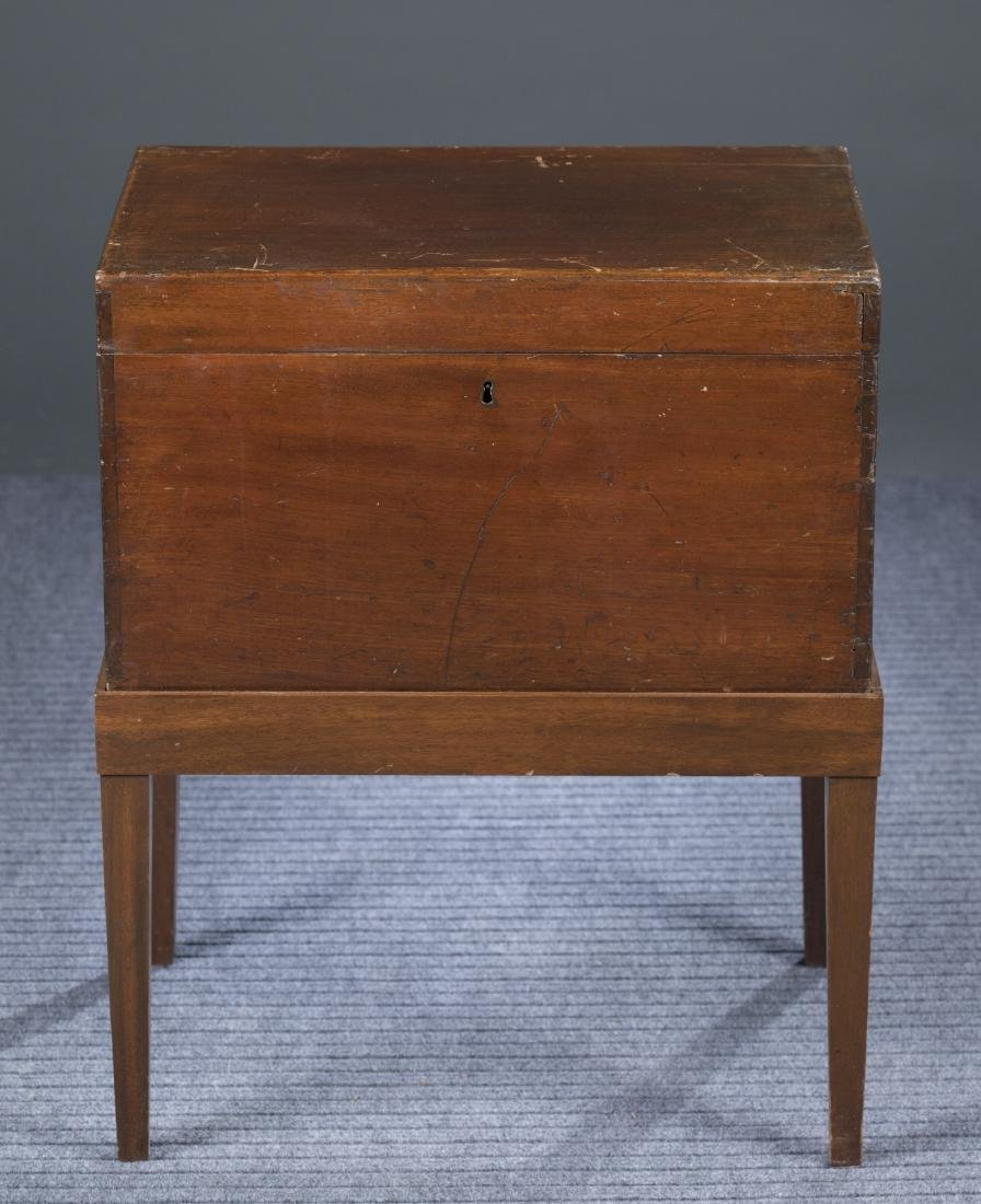 Mahogany Dovetailed Sugar Chest on Stand, 19th c.