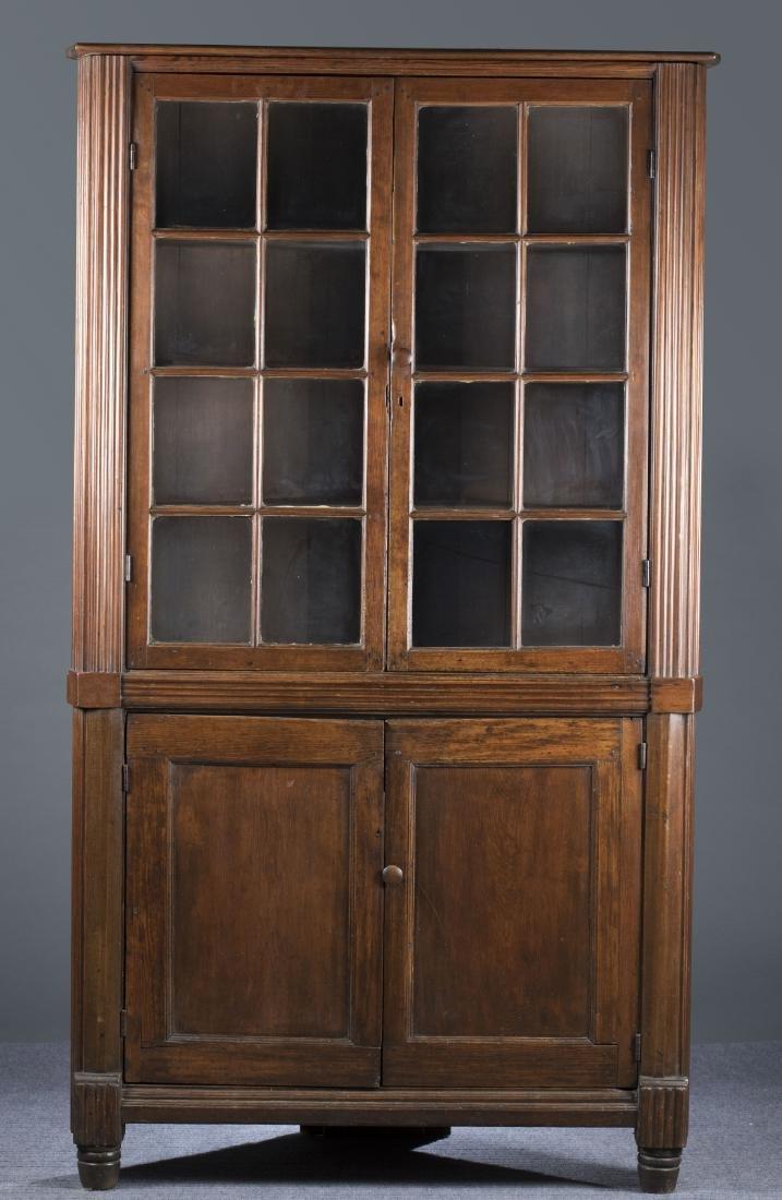 Large Pennsylvania Pine Corner Cupboard, 18th c.