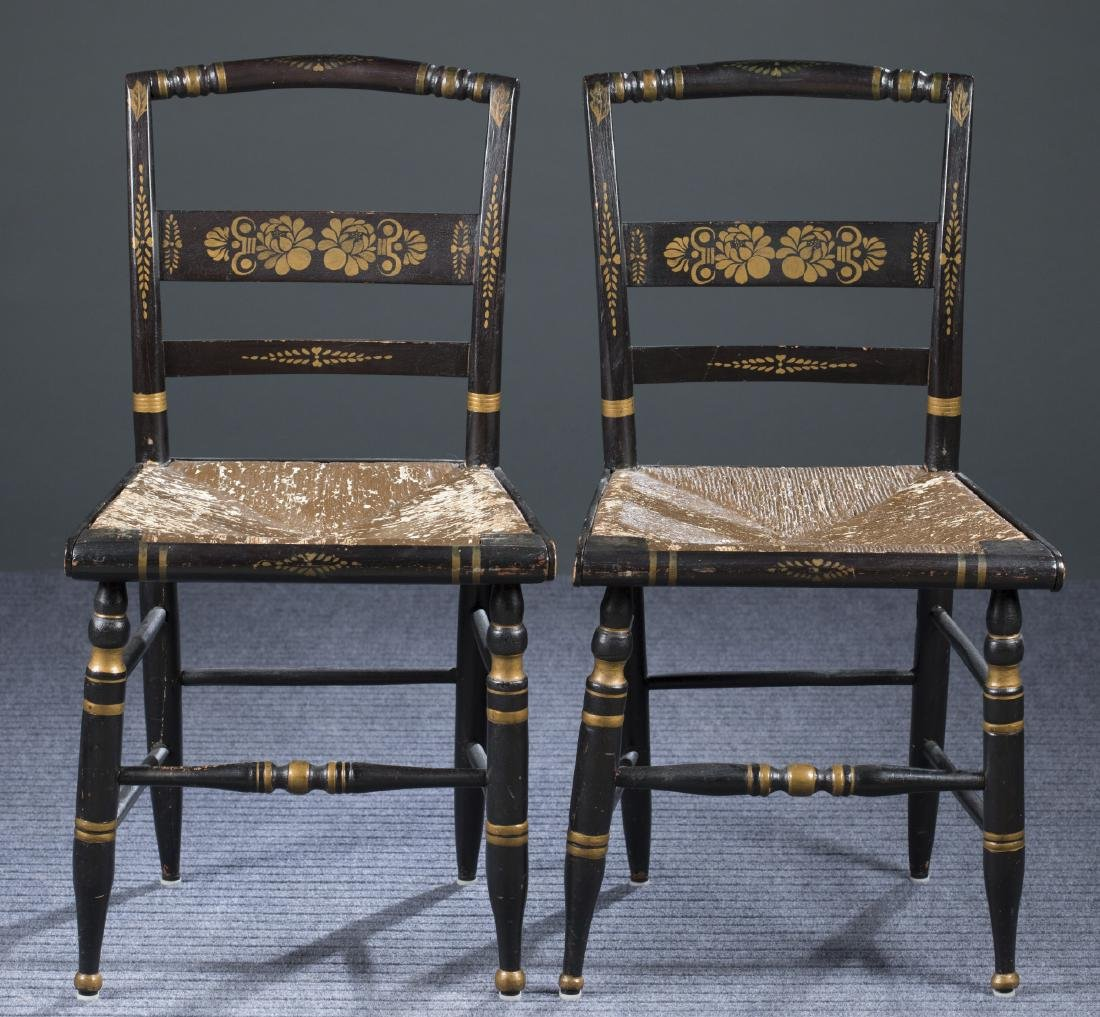 Set of Six Sheraton Fancy Side Chairs, 19th c.