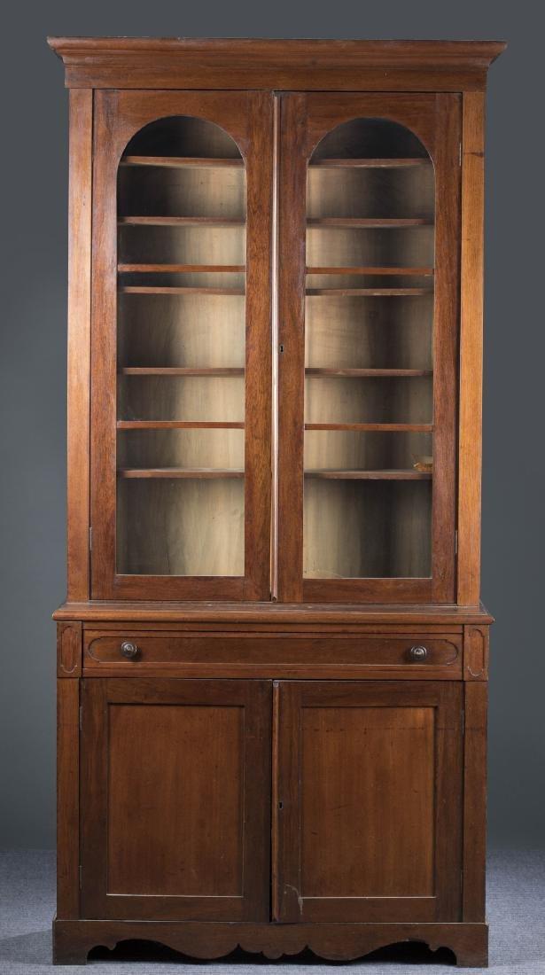 American Step-Back Secretary Bookcase, 19th c.