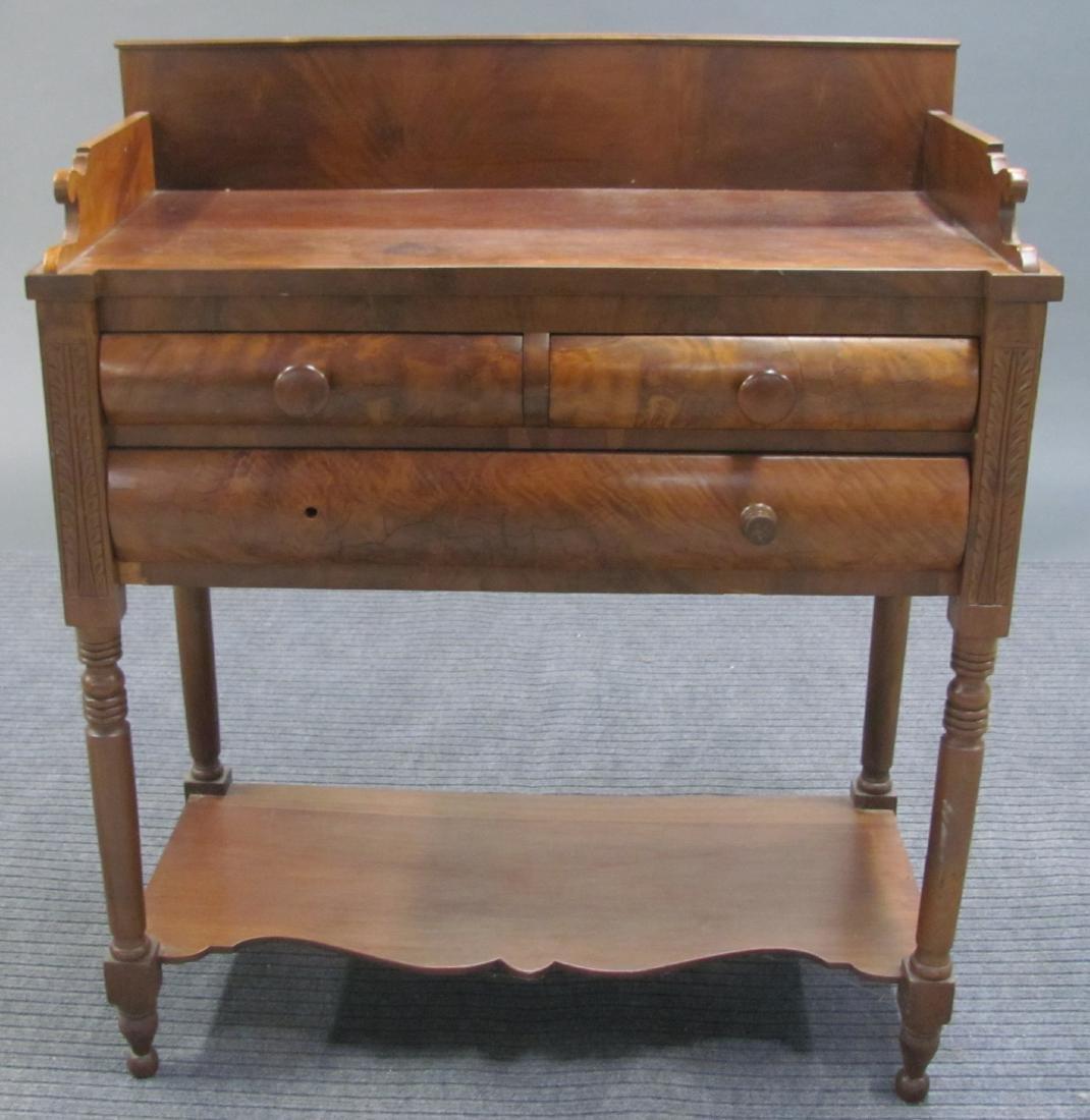 American Empire Burled Walnut Washstand, 19th c.