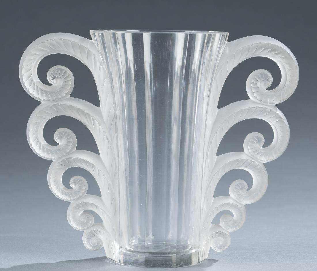 """Lalique """"Beauvais"""" Vase With Handles, c.1931."""