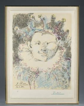 """After Pablo Picasso """"tete De Bouffon"""" Lithograph."""
