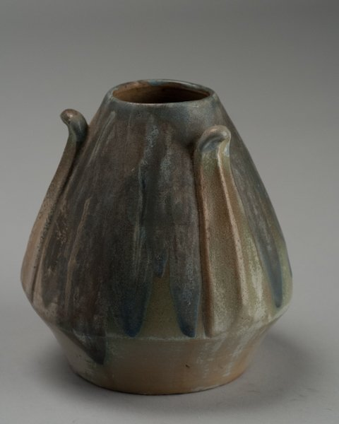 15: Charles Greber Floriform Vase with Blue Dripped Gla