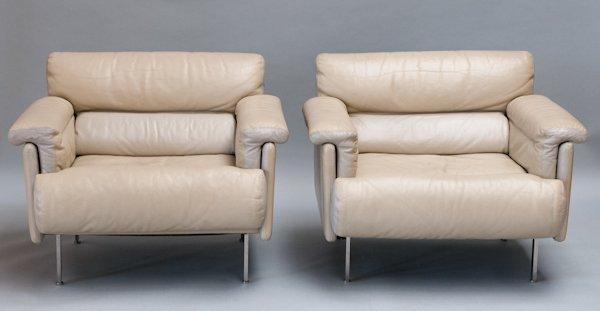 18: Pair of Harvey Probber Cream Leather Armchairs,