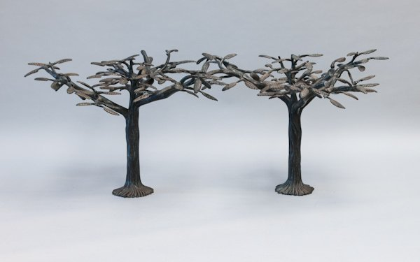 23: Pair of Cast Bronze Trees from a Significant Palm B