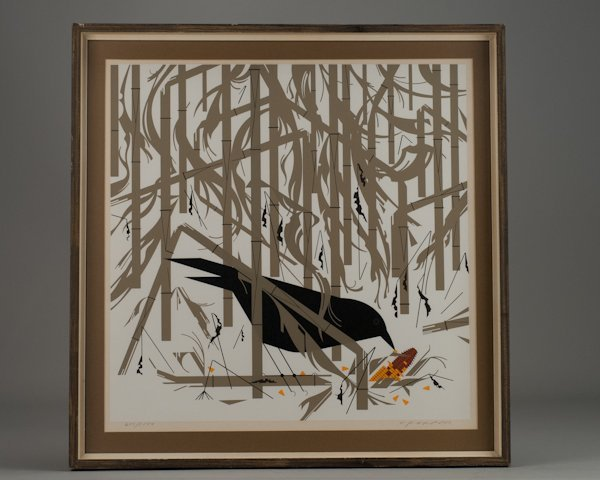 """24: Charley Harper, (1922-2007), """"Crow in the Snow"""", pr"""