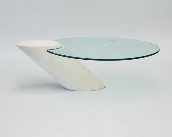 Sculptural Glass top Coffee Table with Cantilever