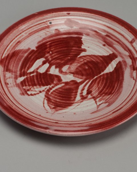 272: J.T. Abernathy Studio Pottery Charger with Red Lea - 2