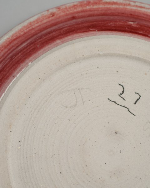 272: J.T. Abernathy Studio Pottery Charger with Red Lea - 5