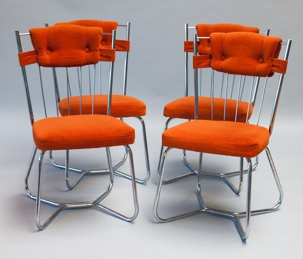 287: Set of Four Stoneville Furniture Co. Chrome Chairs