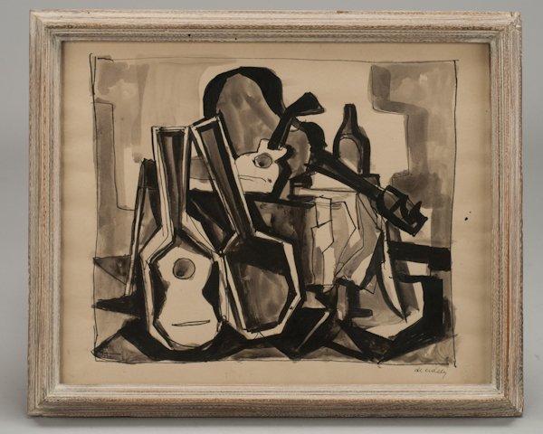 456: Illegibly Signed Cubist Ink Wash of Guitars.