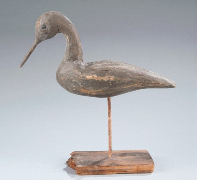 1: Shore Bird, Possibly a Curlew,  Decoy on Stand