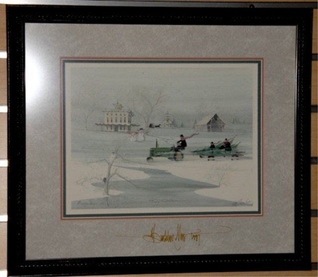 "1014: P. Buckley Moss Print, ""Snowy Christmas"""