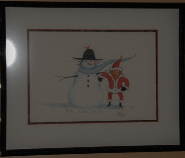 "1015: P. Buckley Moss Print ""Kris Kringle's Snowman"""