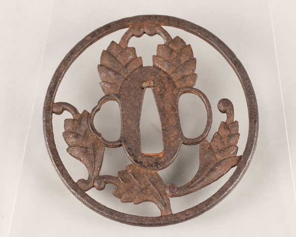 6: Japanese iron decorative sword Tsuba in the form of