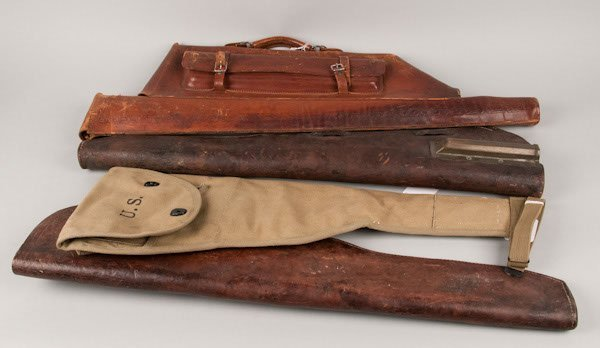 20: Collection of leather gun cases including 1 shotgun