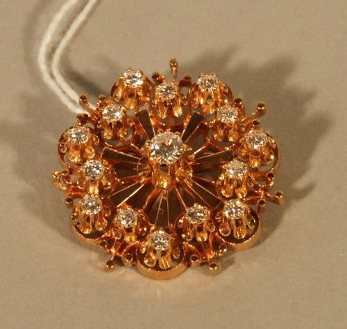 1: A 14K Yellow Gold and Diamond Brooch/Pendant