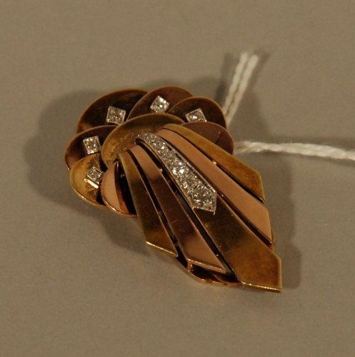 2: A 14k Multi-gold and Diamond Retro Clip