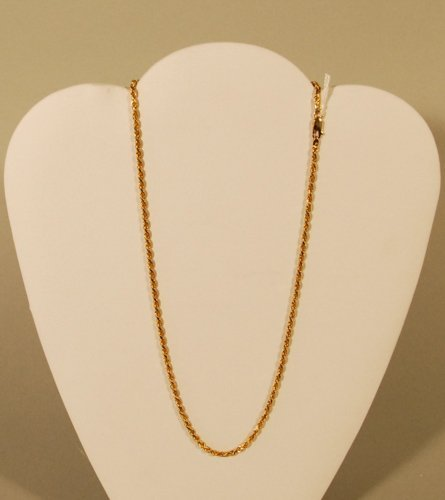 6: A 14K Yellow Gold Diamond Cut Rope Chain