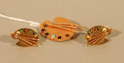 12: 14K Yellow Gold Artist's Palette Brooch and Earring
