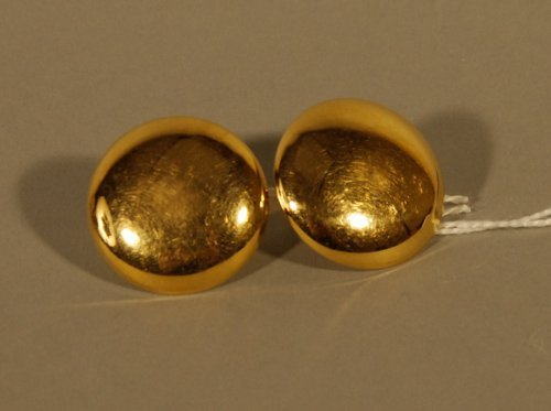 20: Pair of 18K Yellow Gold Disk Earrings