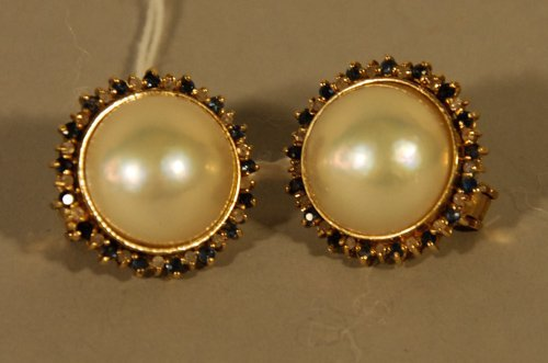 22: Pair of 14K Gold, Mabe pearl, Diamond and Sapphire
