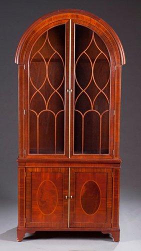 2: Contemporary Mahogany Bookcase with Mullion Glass Do