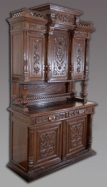 4: Heavily Carved Oak Buffet with Marine Style Carvings