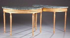 7: Pair of Giltwood and Marble Console Tables, Ca. 1850