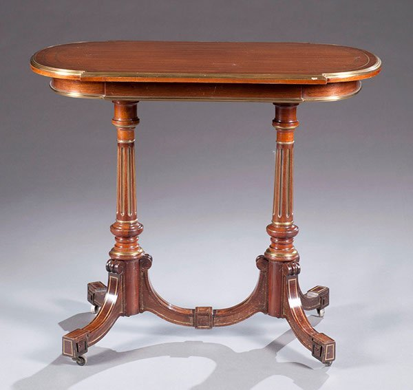 8: Brass Mounted Mahogany Occasional Table, Ca. 1880