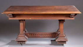 9: Late 19th Century Carved Walnut Dining Table