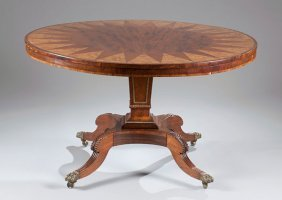 11: Regency Round Table Consisting of Rosewood, Walnut
