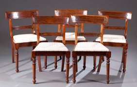 Set Of Five Rosewood William IV Dining Chairs, Ca.